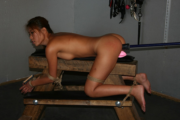 Cunt violation  korean bitch fuk mi gets strapped down and gets her cunt deliciously violated. Korean bitch Fuk Mi gets strapped down and gets her pussy deliciously violated
