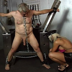Older male slave. The tables are certainly turned as this mature male gets castigate by a younger blonde mistress